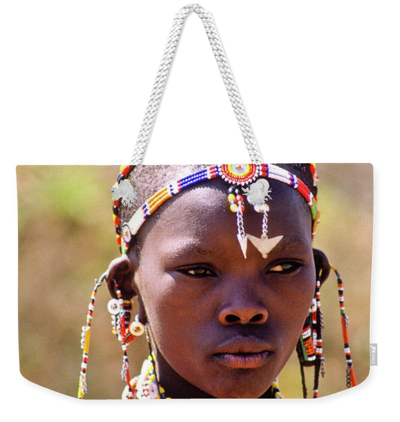 Africa Weekender Tote Bag featuring the photograph Maasai Beauty by Michele Burgess