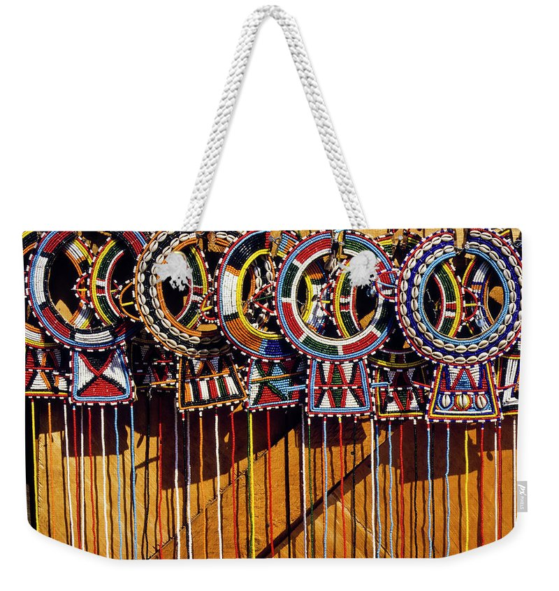 Africa Weekender Tote Bag featuring the photograph Maasai Wedding Necklaces by Michele Burgess