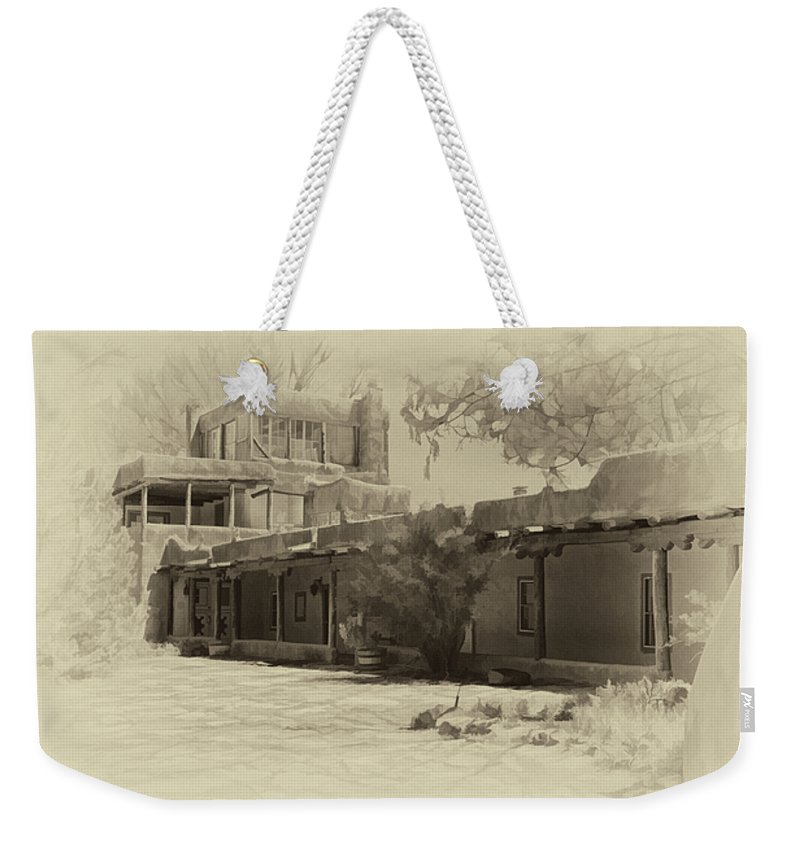 Mabel Weekender Tote Bag featuring the photograph Mabel's Courtyard As Antique Print by Charles Muhle
