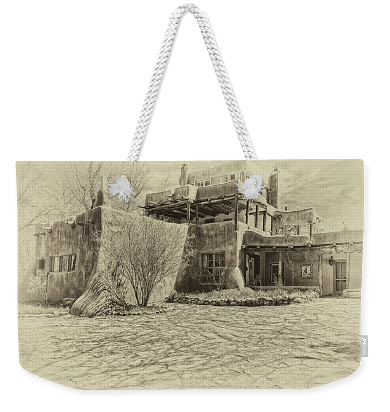Mabel Weekender Tote Bag featuring the digital art Mabel's House As Antique Print by Charles Muhle