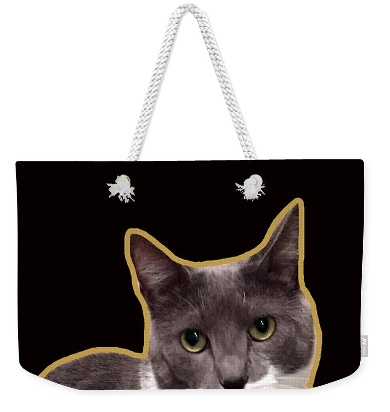 Weekender Tote Bag featuring the mixed media Mac Attack 2-custom Order by Linda Woods