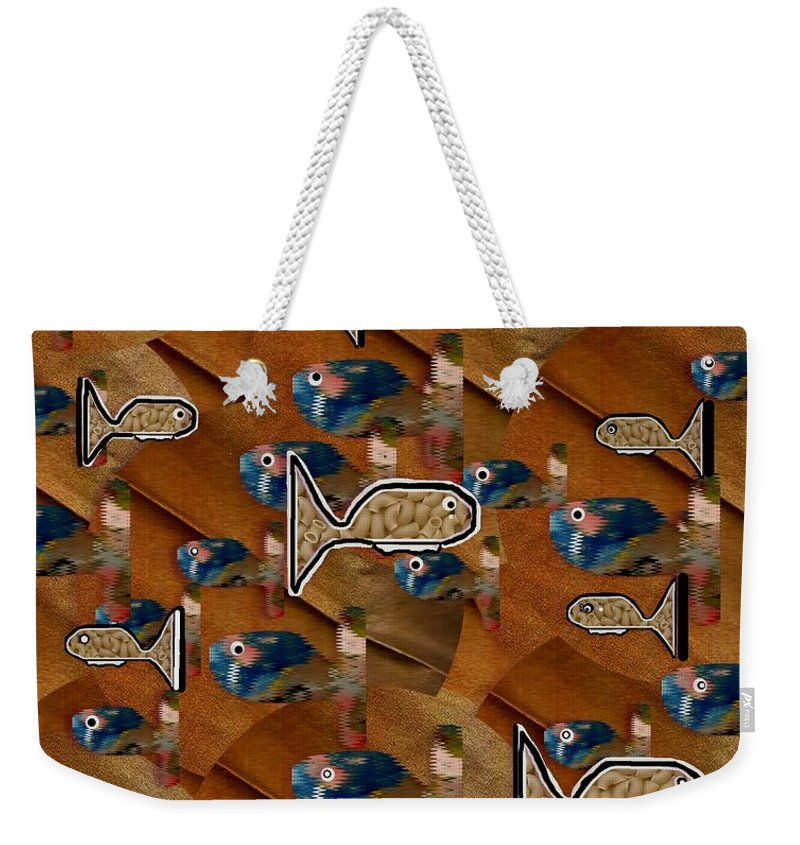 Acryl Weekender Tote Bag featuring the mixed media Macaroni For Dinner by Pepita Selles
