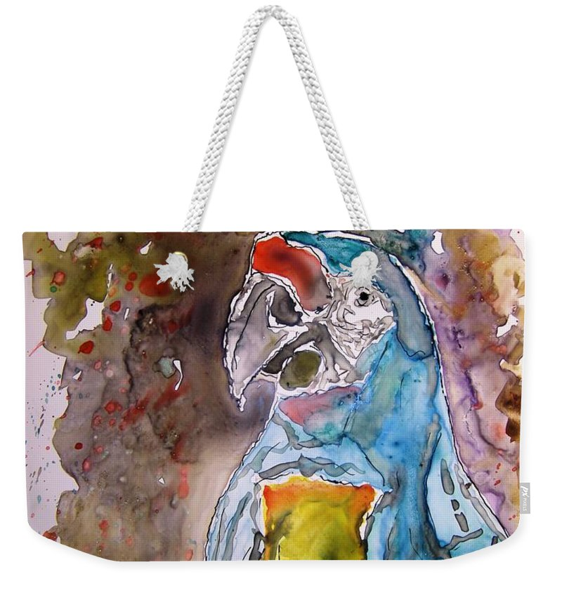 Parrot Weekender Tote Bag featuring the painting Macaw Parrot by Derek Mccrea