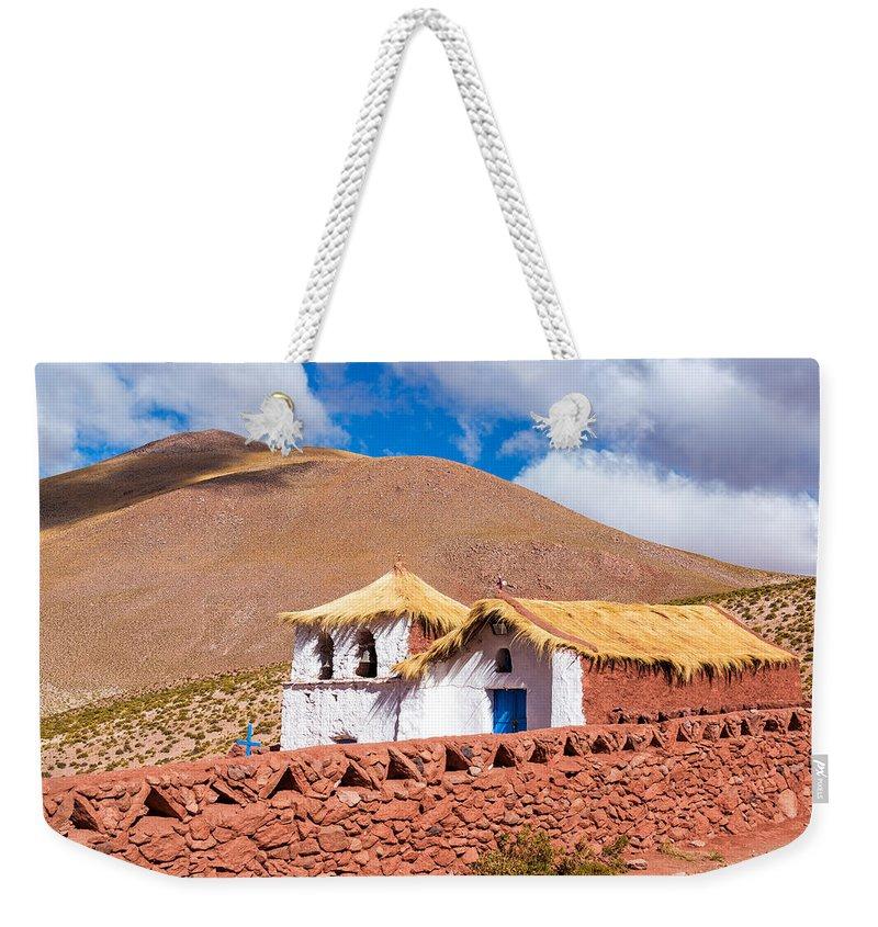 Church Weekender Tote Bag featuring the photograph Machuca Church by Jess Kraft