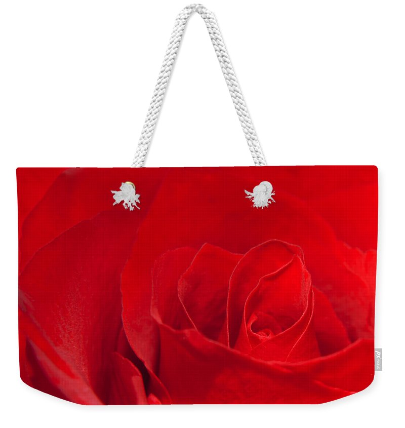 Rose Weekender Tote Bag featuring the photograph Macro Red Rose by Svetlana Sewell