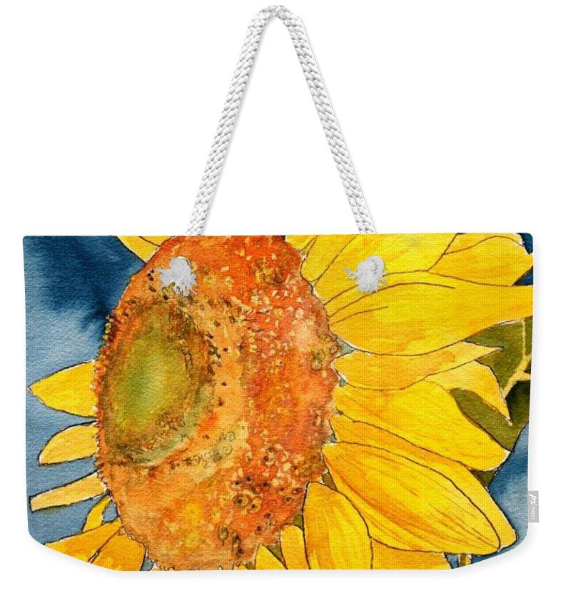 Sunflower Weekender Tote Bag featuring the painting Macro Sunflower Art by Derek Mccrea