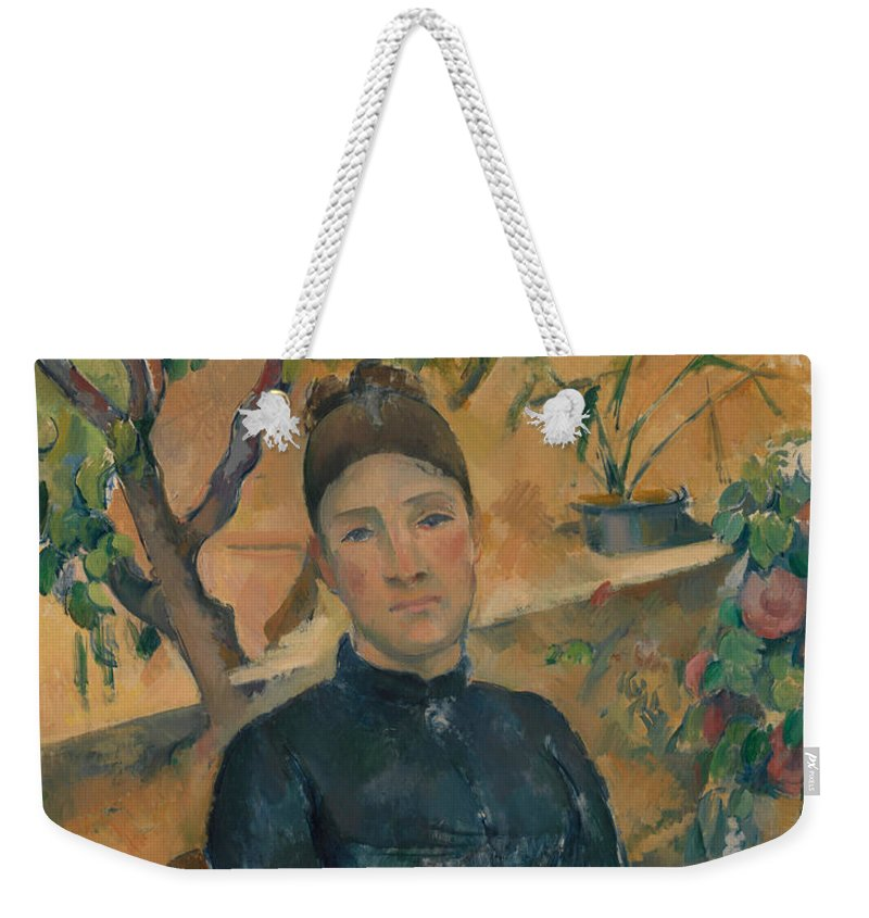 19th Century Art Weekender Tote Bag featuring the painting Madame Cezanne In The Conservatory by Paul Cezanne