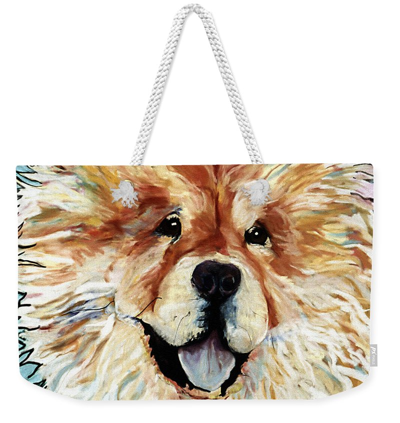 Chow Chow Weekender Tote Bag featuring the pastel Madame Chu Cho by Pat Saunders-White