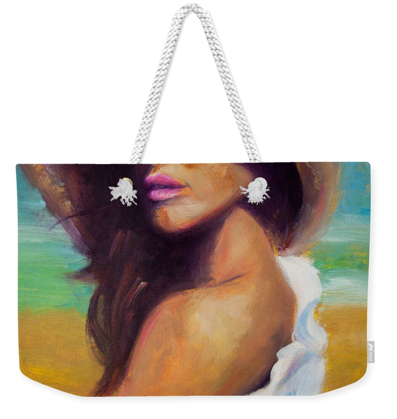 Girl Weekender Tote Bag featuring the painting Made In The Shade by Jason Reinhardt