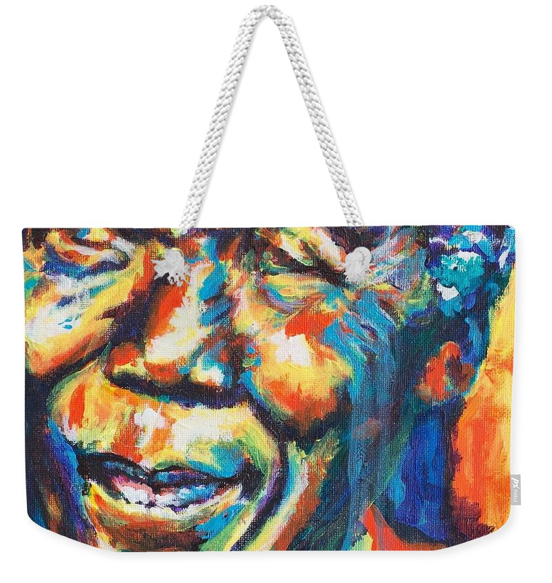Madiba Weekender Tote Bag featuring the painting Madiba by Larry Ger
