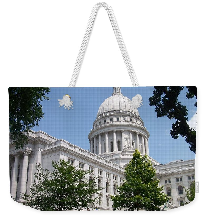 Madison Weekender Tote Bag featuring the photograph Madison Wi State Capitol by Anita Burgermeister