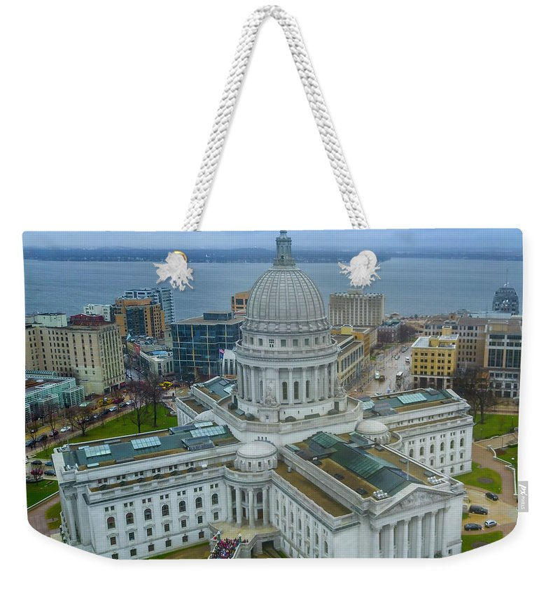 Madison Weekender Tote Bag featuring the photograph Madison Wisconsin by Randy Kostichka
