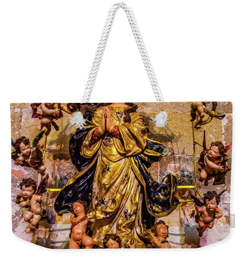 Madonna Weekender Tote Bag featuring the photograph Madonna And Cherubs by Roberta Bragan