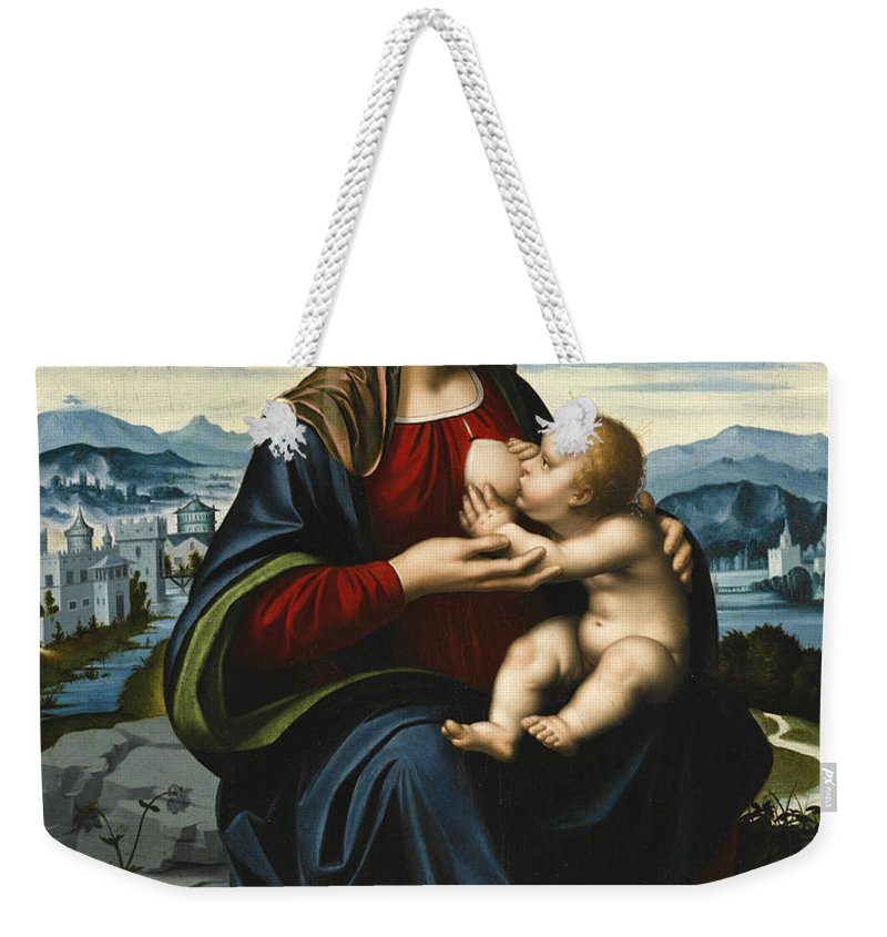 Marco D'oggiono Weekender Tote Bag featuring the painting Madonna And Child Before A Landscape by Marco d'Oggiono
