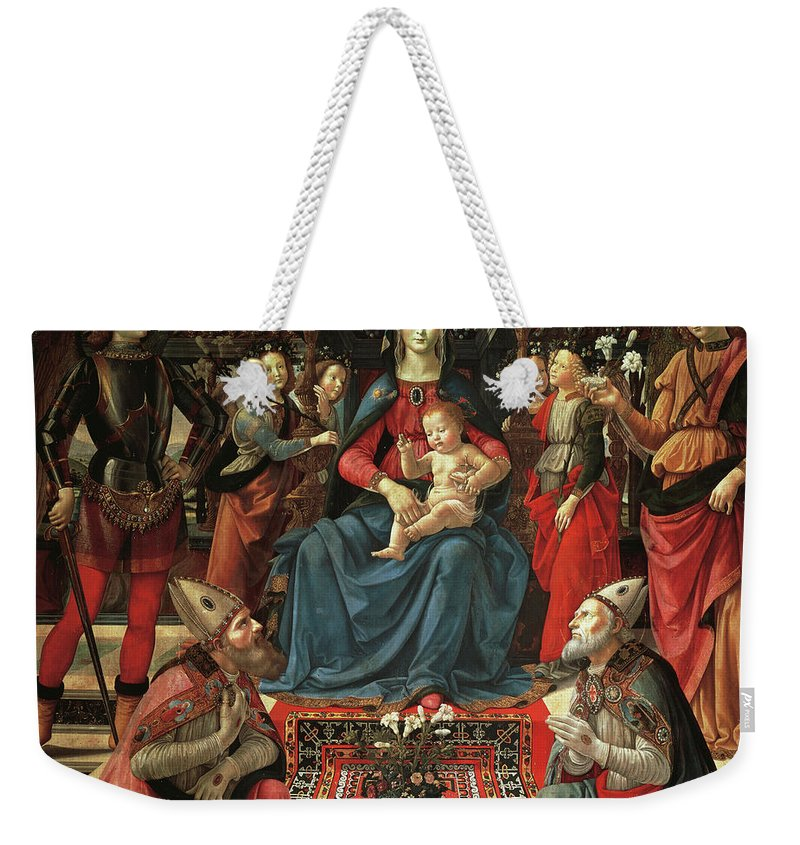 Ghirlandaio Weekender Tote Bag featuring the painting Madonna And Child Enthroned With Saints by Domenico Ghirlandaio
