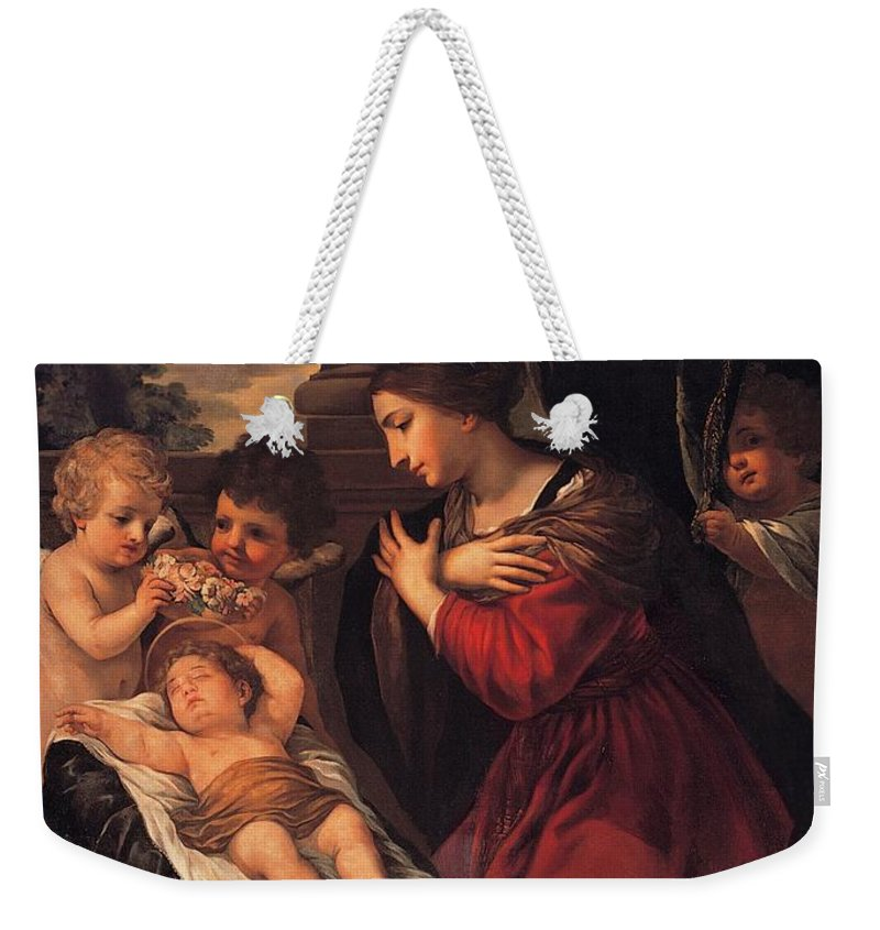 Painting Weekender Tote Bag featuring the painting Madonna And Child With Child And Angles by Mountain Dreams