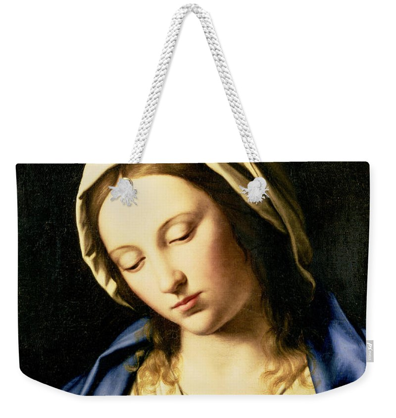 Mary Weekender Tote Bag featuring the painting Madonna At Prayer by Il Sassoferrato