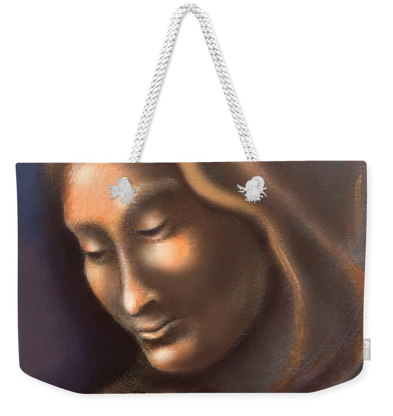 Madonna Weekender Tote Bag featuring the painting Madonna by Kevin Middleton