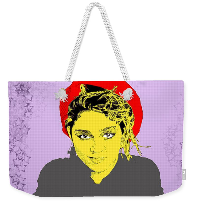 Madona Weekender Tote Bag featuring the digital art Madonna On Purple by Jason Tricktop Matthews
