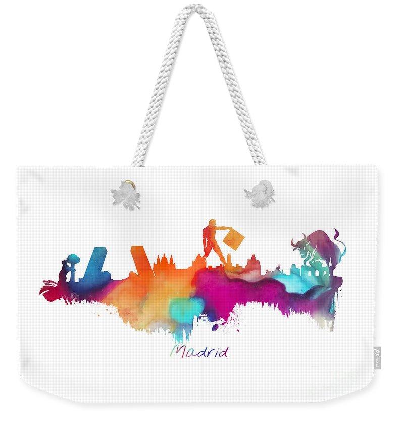 Madrid Weekender Tote Bag featuring the digital art Madrid Colored Skyline by Justyna JBJart