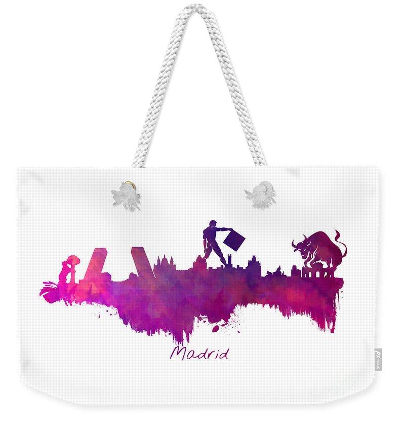 Madrid Weekender Tote Bag featuring the digital art Madrid Skyline City by Justyna JBJart