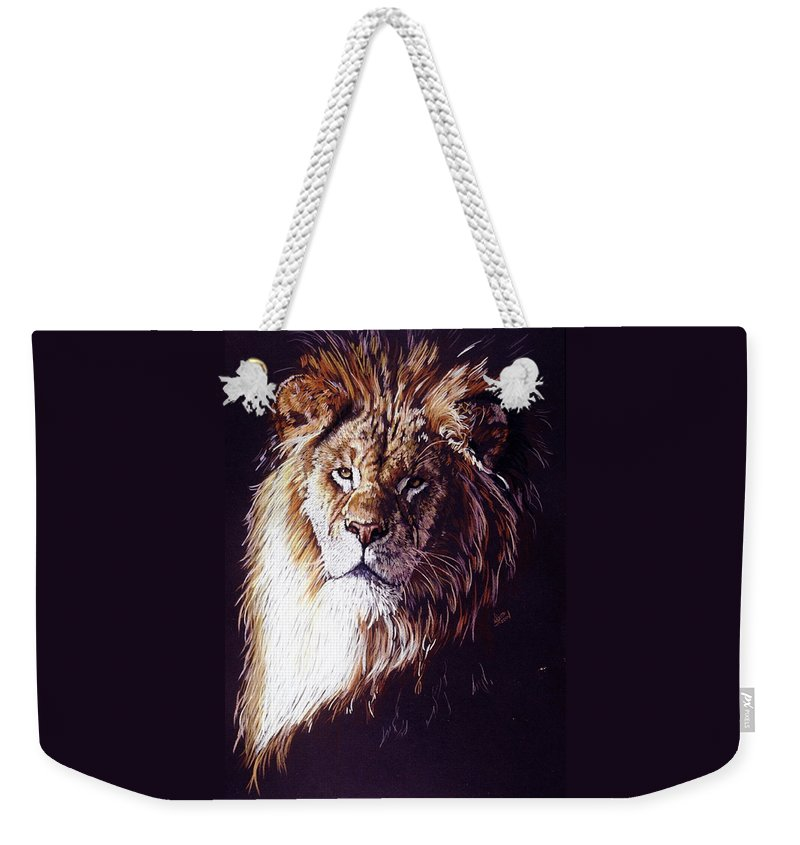Lion Weekender Tote Bag featuring the drawing Maestro by Barbara Keith