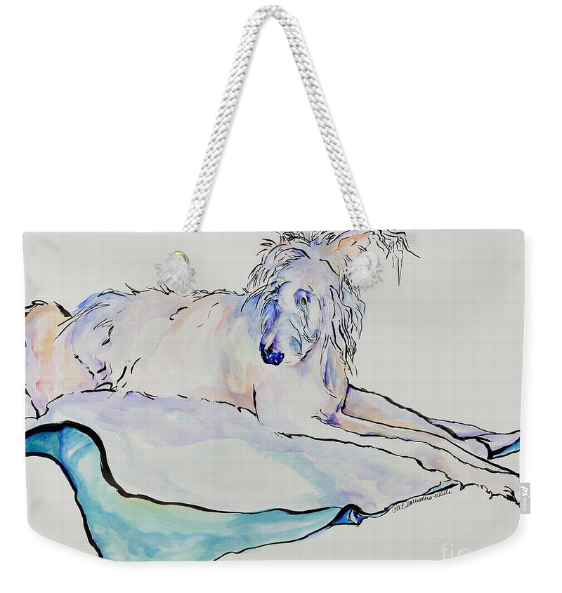 Animal Portrait Weekender Tote Bag featuring the painting Maevis by Pat Saunders-White