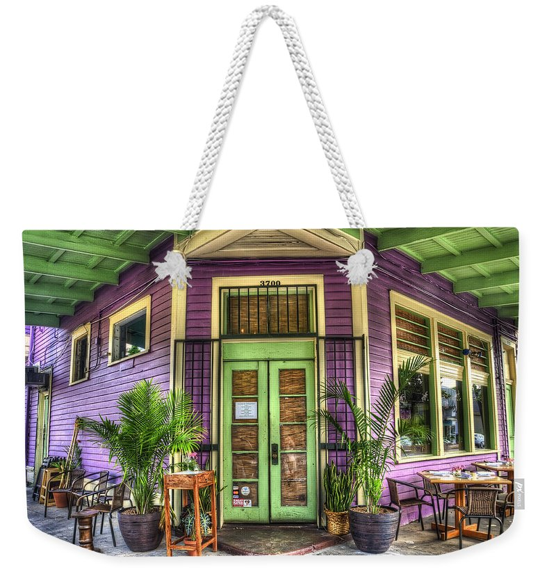Nola Weekender Tote Bag featuring the photograph Magazine Street Resaurant by Tammy Wetzel