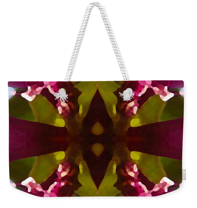 Abstract Painting Weekender Tote Bag featuring the digital art Magent Crystal Flower by Amy Vangsgard