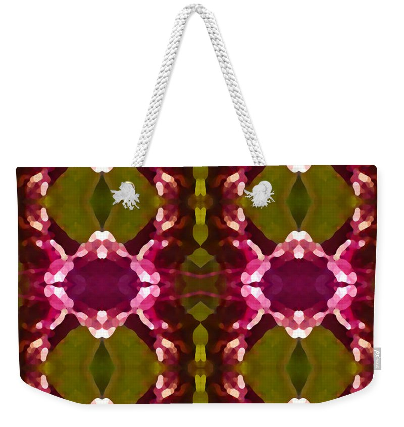 Abstract Weekender Tote Bag featuring the painting Magenta Crystal Pattern by Amy Vangsgard