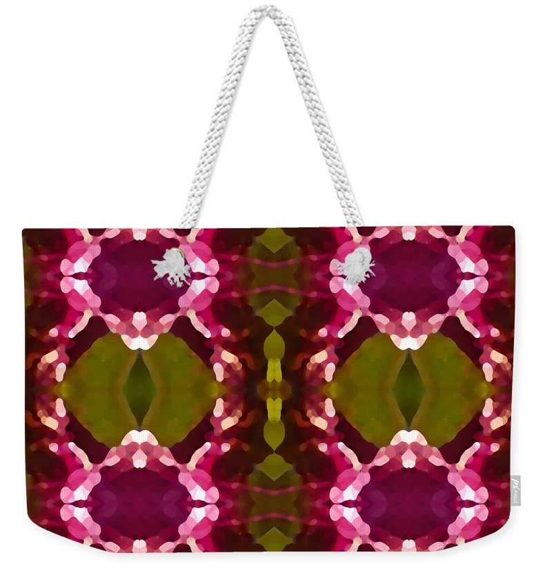 Abstract Painting Weekender Tote Bag featuring the digital art Magenta Crystals Pattern 2 by Amy Vangsgard