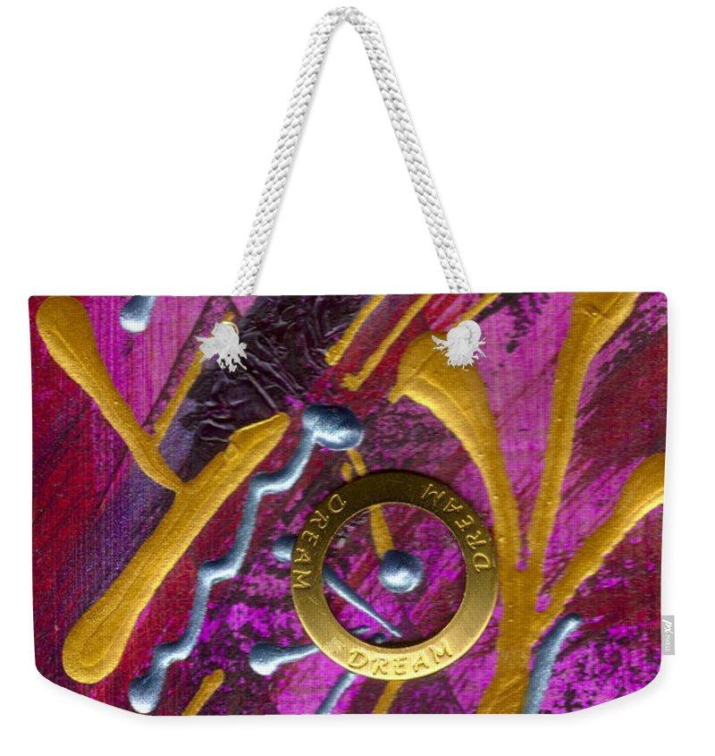 Gretting Cards Weekender Tote Bag featuring the mixed media Magenta Joy Dreams by Angela L Walker