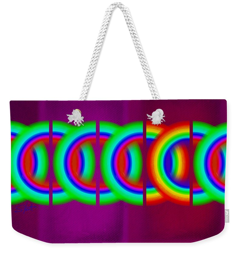 Abstract Weekender Tote Bag featuring the painting Magenta Olympic Games by Charles Stuart