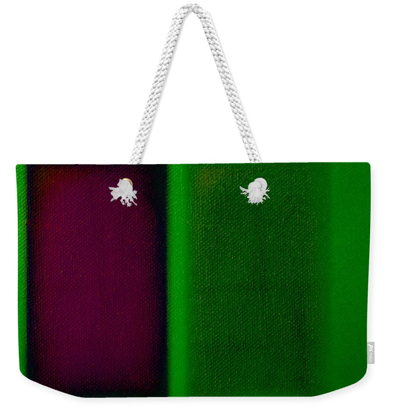 Rothko Weekender Tote Bag featuring the painting Magenta On Green by Charles Stuart