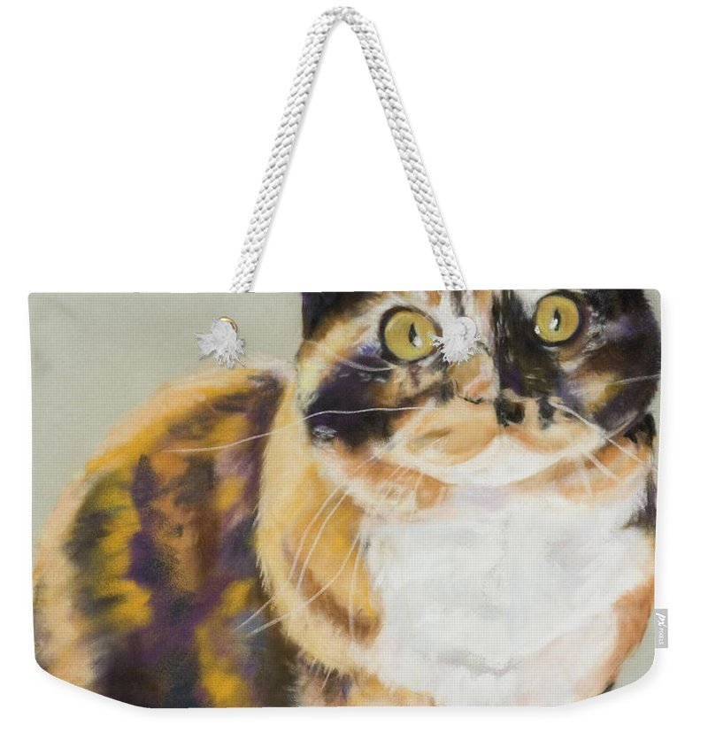 Calico Weekender Tote Bag featuring the painting Maggie Mae by Pat Saunders-White