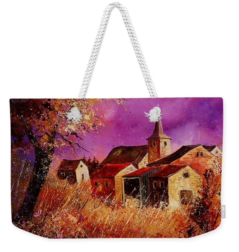 Landscape Weekender Tote Bag featuring the painting Magic Autumn by Pol Ledent