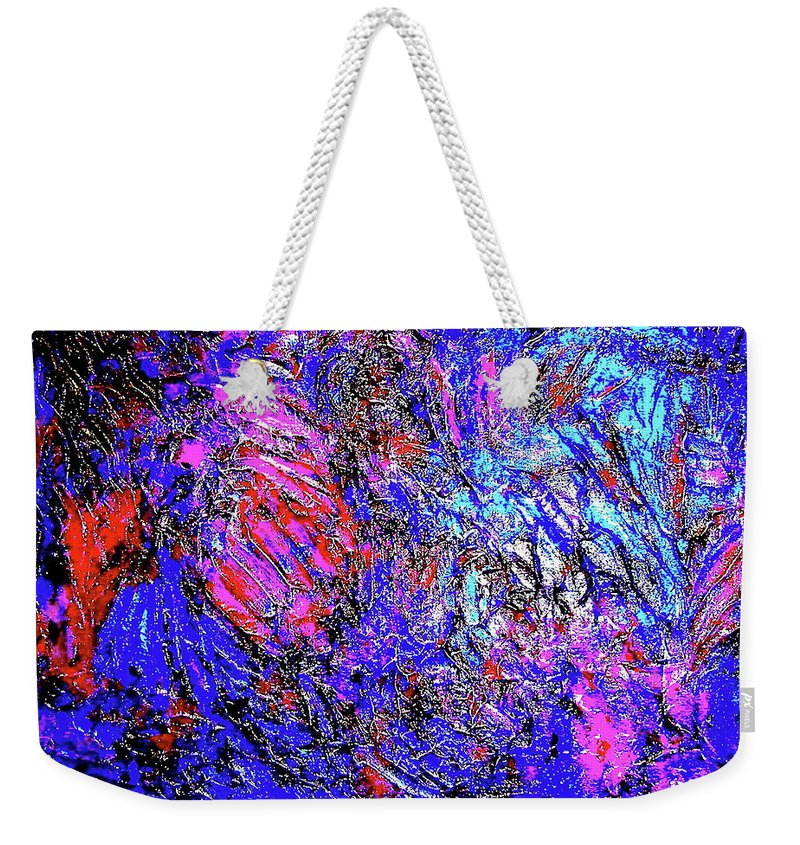 Painting Acrylics Prints Weekender Tote Bag featuring the painting Magic Blue by Monique's Fine Art