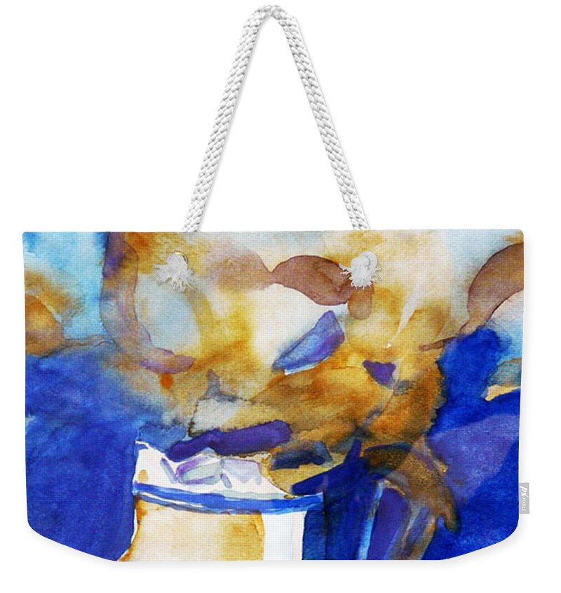 Watercolor Weekender Tote Bag featuring the painting Magic Calendulae by Jasna Dragun