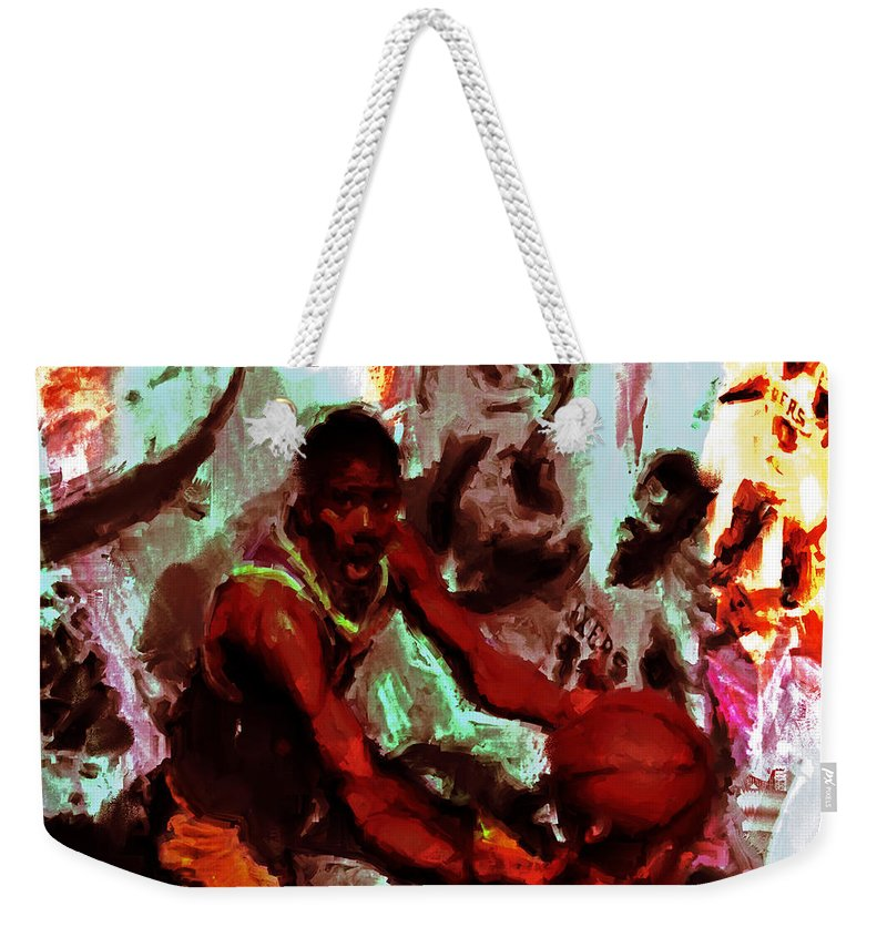 Magic Johnson Weekender Tote Bag featuring the painting Magic Johnson Taking Flight by Brian Reaves