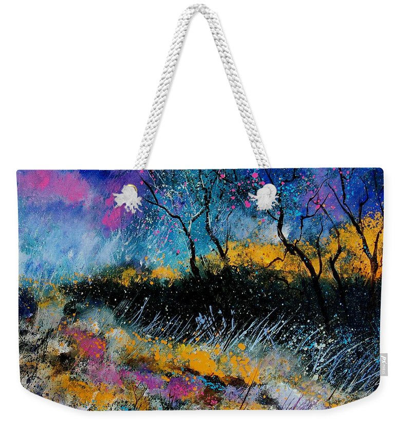 Landscape Weekender Tote Bag featuring the painting Magic Morning Light by Pol Ledent