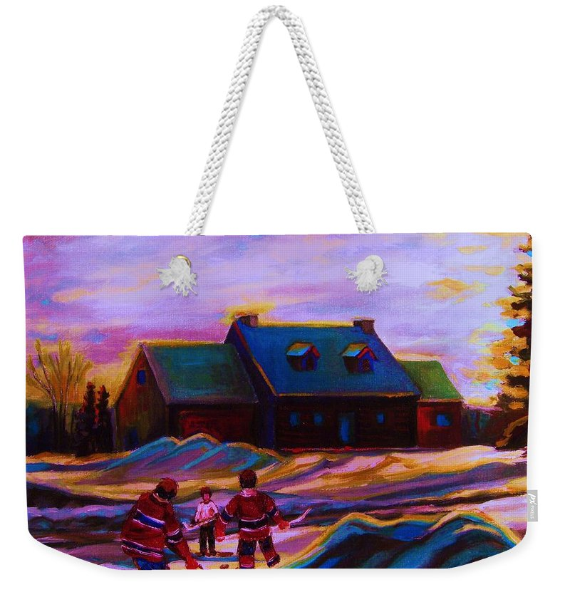 Hockey Weekender Tote Bag featuring the painting Magical Day For Hockey by Carole Spandau