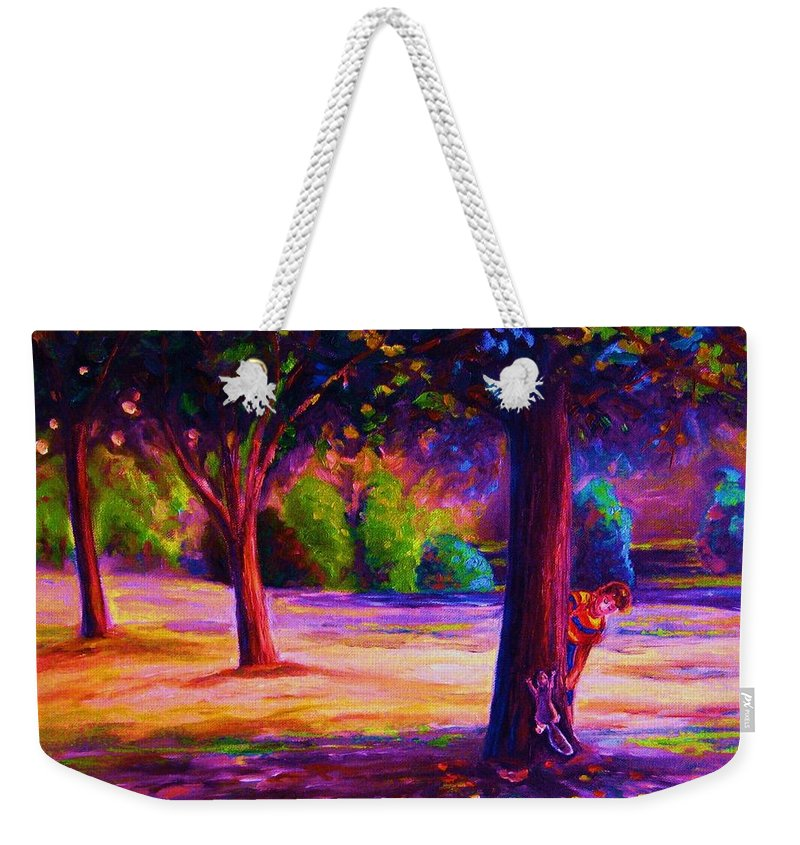 Landscape Weekender Tote Bag featuring the painting Magical Day In The Park by Carole Spandau