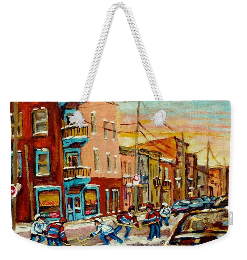 Hockey Weekender Tote Bag featuring the painting Magical Hockey Game by Carole Spandau