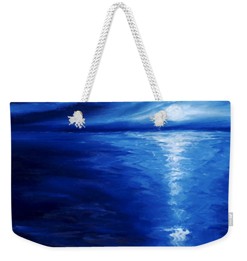 Blue Moon Weekender Tote Bag featuring the painting Magical Moonlight by James Christopher Hill