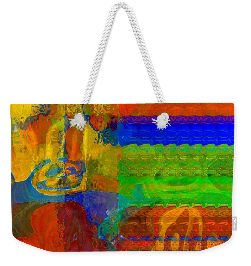 Yellow Weekender Tote Bag featuring the digital art Magical Multi by Ruth Palmer