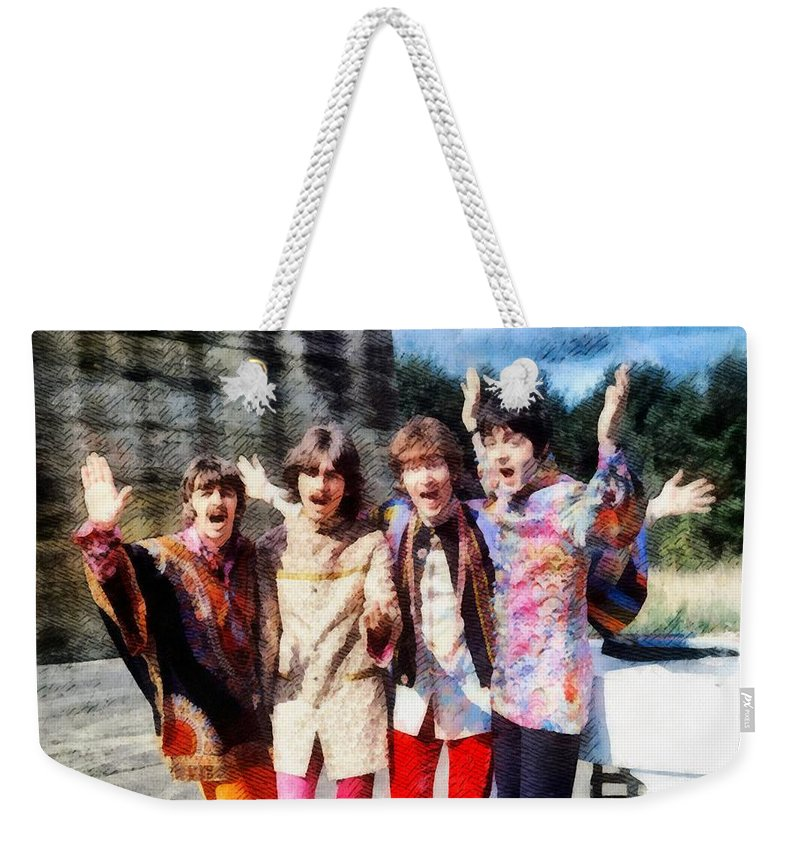 Hollywood Weekender Tote Bag featuring the painting Magical Mystery Tour, The Beatles by Esoterica Art Agency