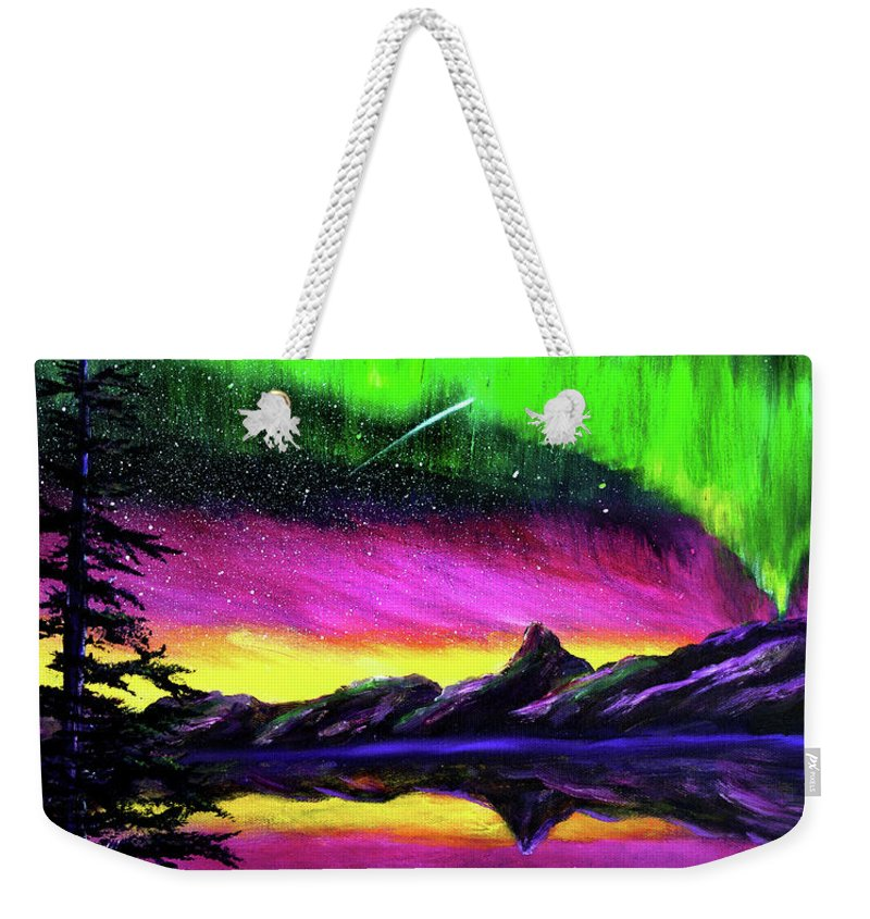 Northern Lights Weekender Tote Bag featuring the painting Magical Night Meditation by Laura Iverson