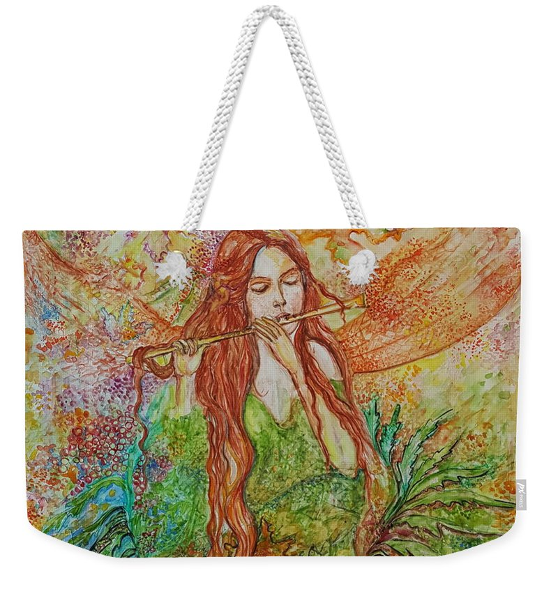 Song Weekender Tote Bag featuring the painting Magical Song Of Autumn by Rita Fetisov