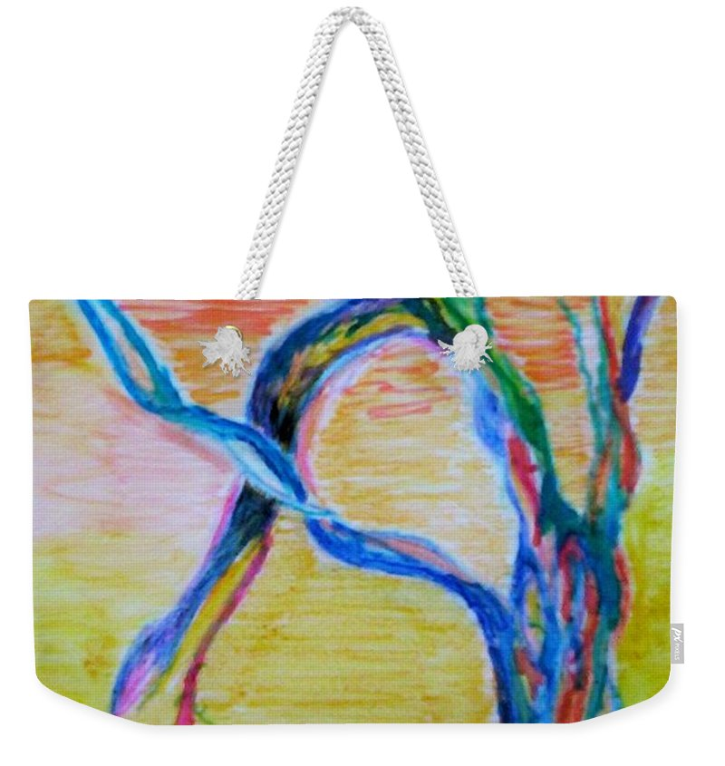 Abstract Painting Weekender Tote Bag featuring the painting Magical Tree by Suzanne Udell Levinger