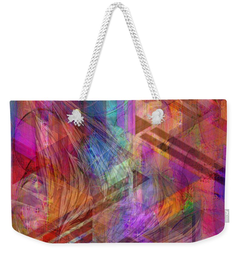 Magnetic Abstraction Weekender Tote Bag featuring the digital art Magnetic Abstraction by John Beck